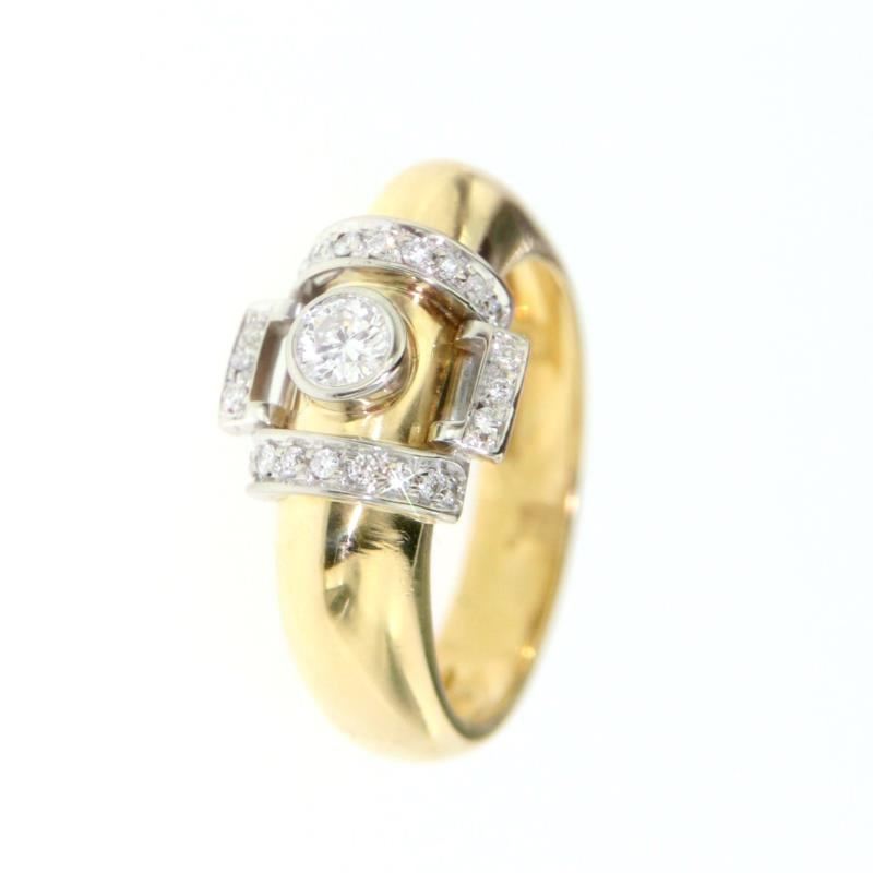Anello due ori 750/1000 con 0,4 ct diamanti