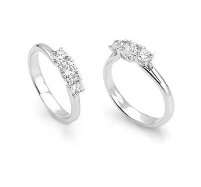 rivenditore di vendita f723a 95521 Anello Oro Bianco 750/1000 Trilogy Con 3 Diamanti Da 0.15 Ct ...