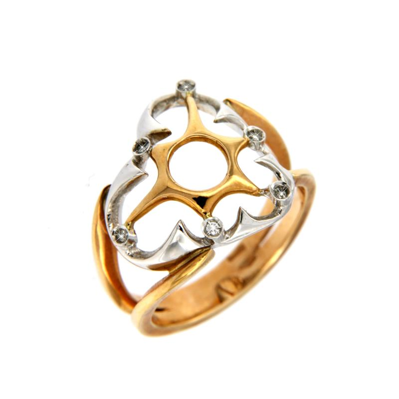 Dini - anello - due ori  750/1000 - cuore con  diamantini da 0.04ct  -  mis. 12