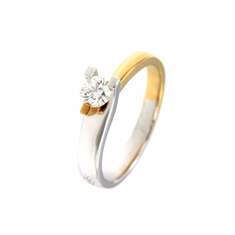 Dini - anello - due ori 750/1000 - solitario con diamante taglio brillante ct. 0,35 - mis. 14