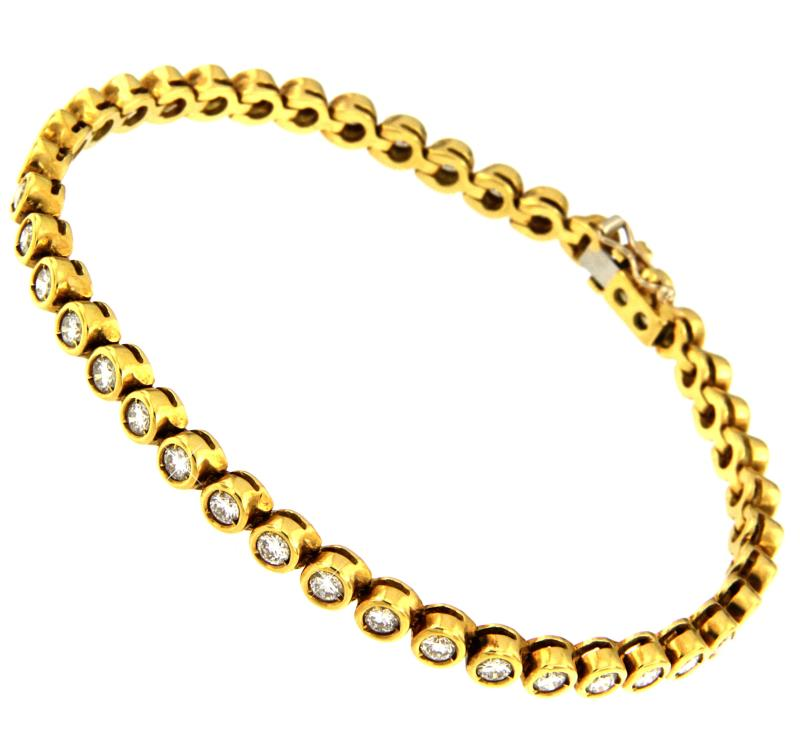 Tennis oro giallo 750/1000 con diamanti taglio brillante ct 2.00 totali  g - vs2 - cm 18
