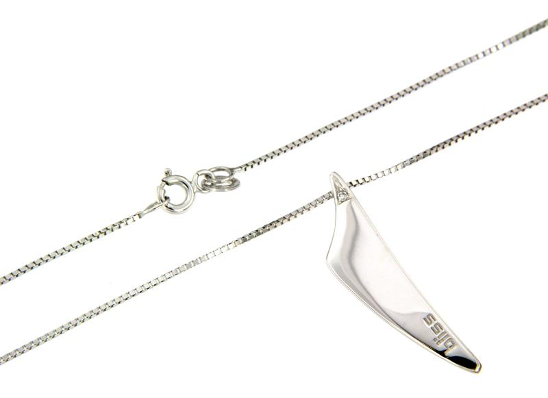 Bliss - collana - oro bianco750/1000 - pendente con diamante t. brillante ct 0.01 h - si2 cm 41 + 3 cm pendente