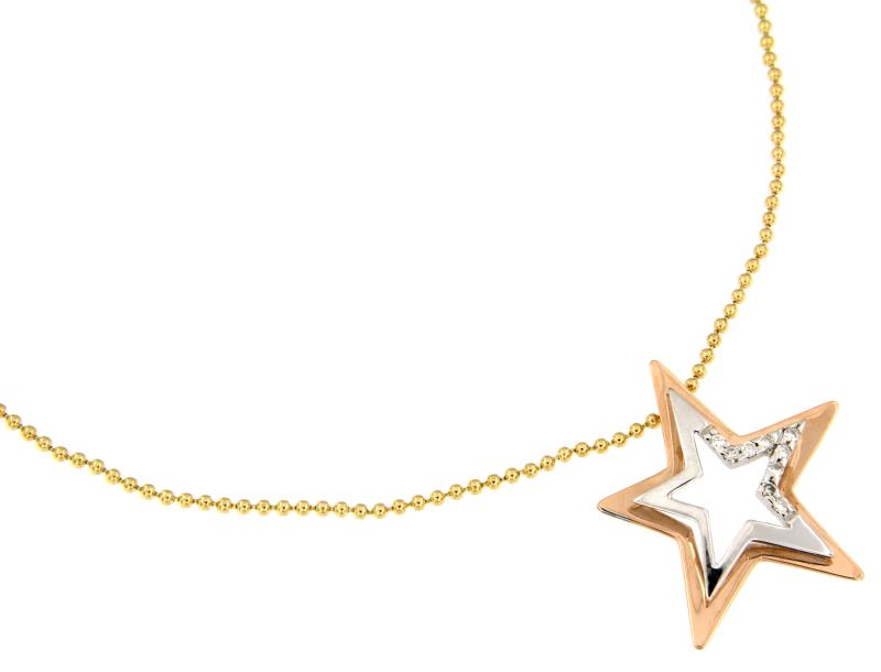Comete - collana - due ori 750/1000 - stella con diamanti t. brillante ct 0.08 tot. h - si2 -  46 cm